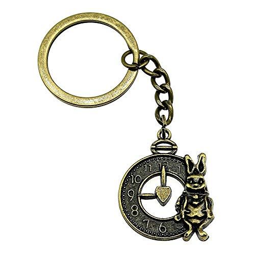 Bijvoorbeeld sleutelhanger, schattig konijntje en horloge, vintage sieradenaccessoires, grappig cadeau, 31 x 25 mm, bronzen antiek