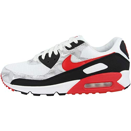 Nike Zapatillas para hombre Low Air Max 90, White Black University Red Dj0639 100, 43 EU