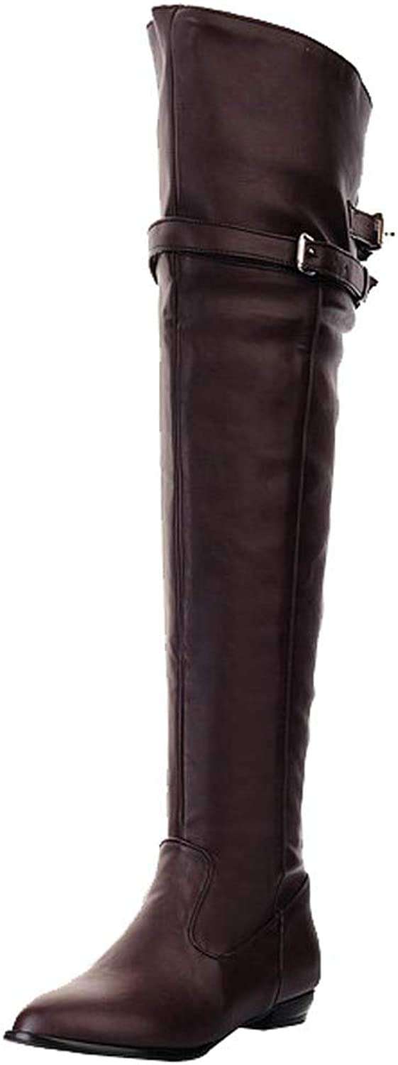 Fullfun Women's Boots Over Knee Long Leather Knight Boots Round Head High Belt Buckle Flat Boots shoes Black