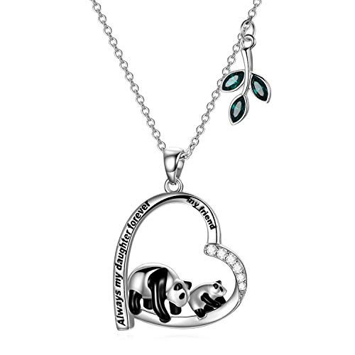 Daughter Necklace 925 Sterling Silver Love Heart Panda Pendant Necklace with Crystals, Birthday Gifts for Daughter from Dad Mum