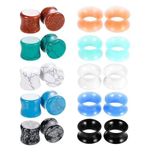 Holibanna 20 peças alargadores de orelha de pedra, medidores de alongamento, alargadores de orelha, alargadores de orelha 0,6 cm