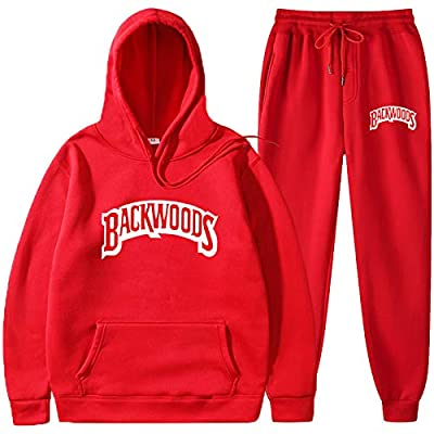 Backwoods Hoodie Suit Lapel Fall/Winter Sweater Hooded Casual Sports Two-Piece Suit Men Red L