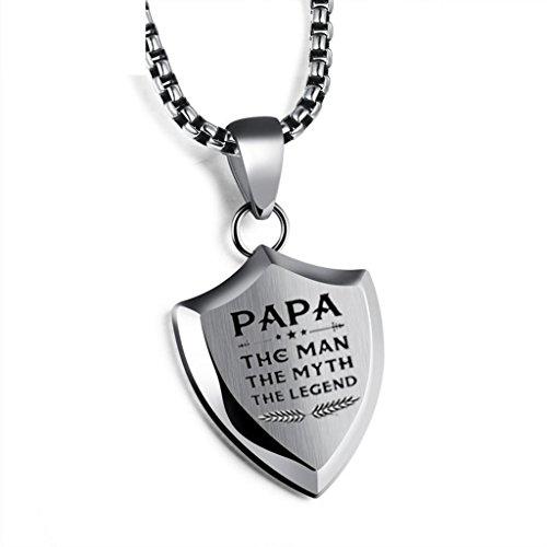 Colgante para hombre con placa grabada de regalo para el Día del Padre, con caja de regalo para papá