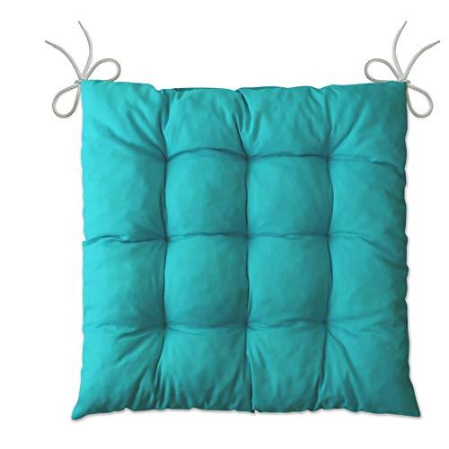 LILENO HOME 1er Set Stuhlkissen Türkis (40x40x6 cm) - Sitzkissen für Gartenstuhl, Küche oder Esszimmerstuhl - Bequeme UV-beständige Indoor u. Outdoor Stuhlauflage als Stuhl Kissen