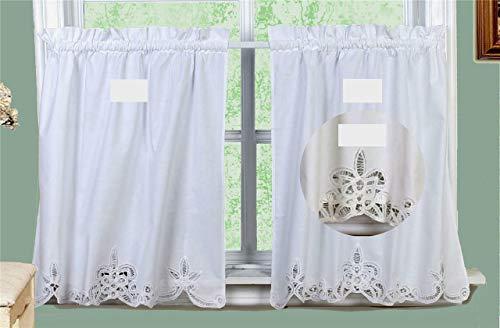 Battenburg Lace Kitchen Curtain Tier Ecru Beige