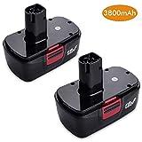 2 Pack 3800mAh for Craftsman 19.2 Volt Battery Replacement for Craftsman DieHard C3 315.115410 315.11485 130235021 130235021 19.2v Battery