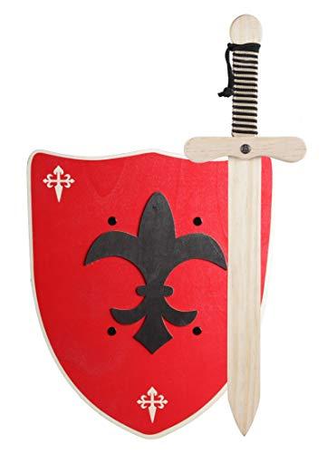 GERILEO Spada con Scudo da Cavaliere di Legno Artigianale - Complemento per Giochi e Costumi. Disponibile in Diversi Colori. (Scudo Rosso XL)