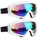 ELECOOL Ski Goggles 2 Packs, Multicolor Lenses Snow Goggles Wind Dust UV 400 Protection Women Men Kids Girls Boys Winter Snowboard Snowmobile Skiing(White/White)