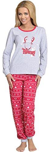 Merry Style Damen Schlafanzug 867 v2 (Grau/Rot, 38 (Herstellergröße: M))