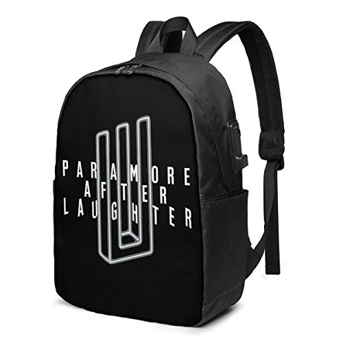USB Backpack 17 in Paramore Logo Multifunctional Bookbag with USB Charging Port