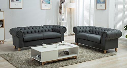 Sofá Chesterfield de 2 o 3 plazas, con tapicería de terciopelo aplastado o tela y patas de madera maciza estilo Reina Ana, en color gris, Grey Pu, 2 + 3 Seater Set