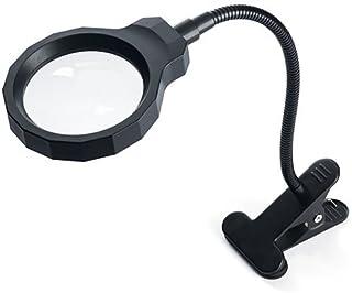 サンワダイレクト 拡大鏡 スタンドルーペ/手持ちルーペ 5倍 LEDライト付き クリップ対応 レンズ径8.3cm 400-LPE017