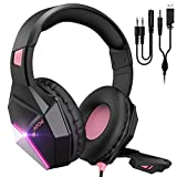 Mpow EG10 Gaming Headset for PS4, PC, Xbox One,Switch -7.1 Surround Sound with Mic Noise Cancelling,Switchable LED Light Soft Earmuffs for Laptop Mac Nintendo Switch Pad MAC Game