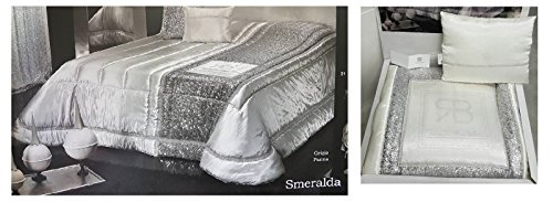 Russo Tessuti Steppdecke für Doppelbett Renato Balestra Smaragd Creme Silber