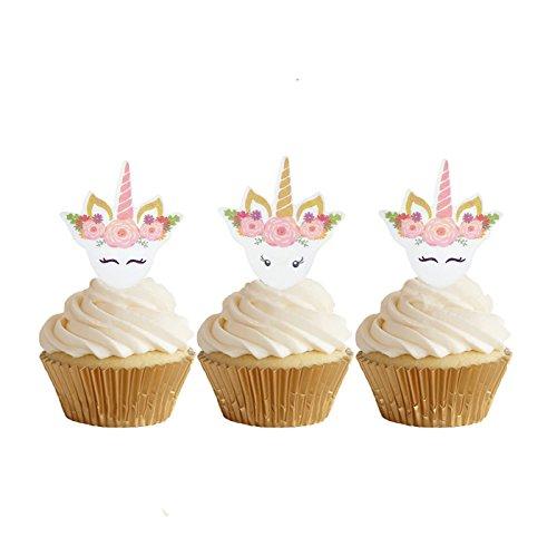 GEORLD 24pcs Edible Unicorn Cupcake Toppers Birthday Cake Decoration