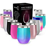 CHILLOUT LIFE 12 oz Stainless Steel Tumbler with Lid & Gift Box - Wine Tumbler Double Wall Vacuum Insulated Travel Tumbler Cup for Coffee, Wine, Cocktails, Ice Cream - Mermaid Sparkle