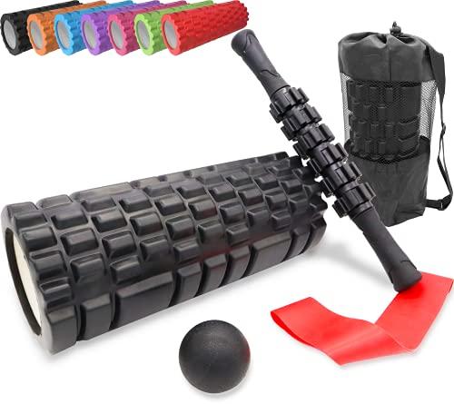 Muscle Massage Foam Roller Set Includes Foam Roller, Massage Roller Stick, Massage Ball,...