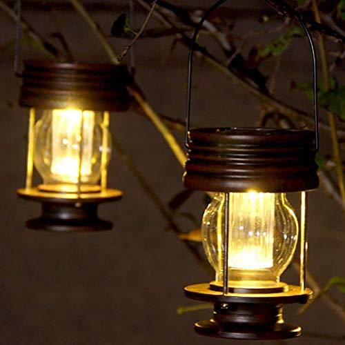 Linternas colgantes solares 2 unidades de lámpara de jardín para exteriores LED vintage colgantes con asa para camino, patio, decoración de árboles, playa, pabellón (luz cálida)