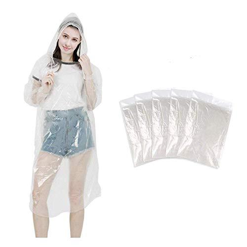 SUNNEY Poncho de lluvia desechable, impermeable y transparente, desechable, para hombre y mujer, con capucha y mangas