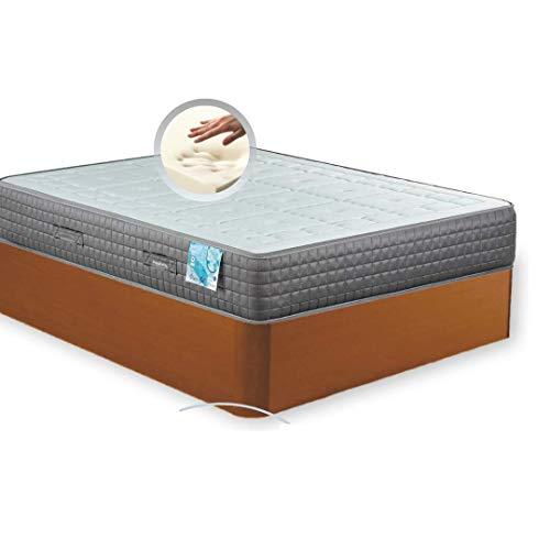 MI CAMA ME LLAMA ESPECIALISTAS EN DESCANSO Canapé de Madera Cheap + Colchón viscoelástico Reversible Premium - Montaje Incluido (Cerezo, 135x190)