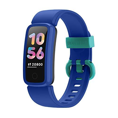 BIGGERFIVE Fitness Tracker Watch for Kids Girls Boys Teens, Activity Tracker, Pedometer, Heart Rate Sleep Monitor, Vibrating Alarm Clock, IP68 Waterproof Calorie Step Counter Watch (N Blue)