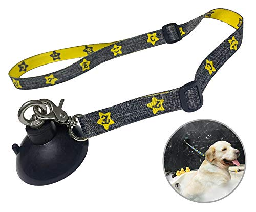 Periflowin Dog Bathing Tether Straps with Suction Cup for Pet Shower and Grooming -Strength Suction Cup for Attaching Dog Bathing Restraints to Grooming Tub Walls