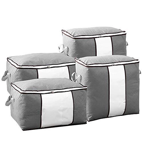 chaobai Aufbewahrungstasche Kleideraufbewahrung Faltbare mit verstärktem Tragengriff Sichtfenster Ideal für Bettdecken Kissen und Kleidung Grau 4er Pack 60×35×42cm 48×50×30cm