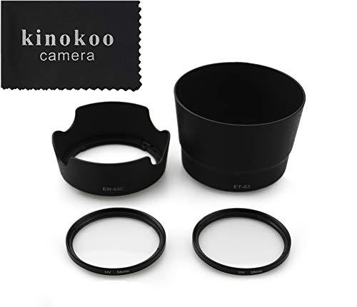 Kinokoo accessoireset voor UV-filter camera lenzen voor Canon EOS 9000D/8000D/80D/70D/800D/200D/750D/700D/200D II, UV-beschermingsfilter/Canon-kit voor omschakelbare zonneklep, E