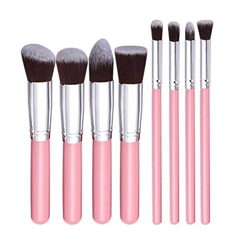 SNUIX Pinceau de maquillage Set Nylon Bristle cosmétiques outil for fard à paupières Eye-Liner Sourcil fard à joues Pinceau fond de teint, 8Pcs (Couleur : Pink N Silver, Size : One Size)