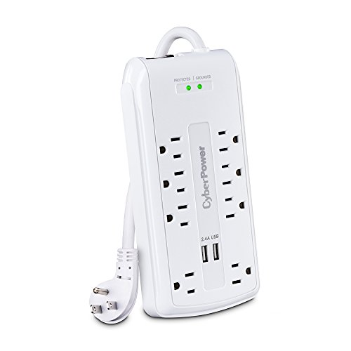 CyberPower CSP806U Professional Surge Protector, 3000J/125V, 8 Outlets, 2 USB Charge Ports, 6ft Power Cord, White