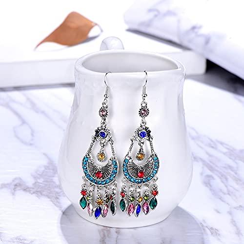feilai Pendientes de borla de diamantes de imitación multicapa para mujer de moda, diseño de luna, hueco, geométrico, largo (color metálico: negro)