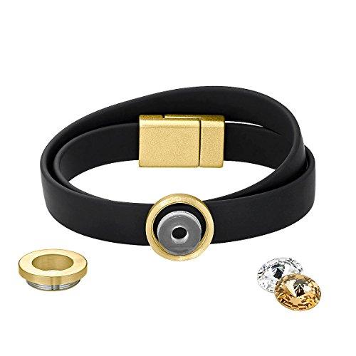 Heideman Armband Damen Colori Band schwarz-Gold 2 Fach aus Edelstahl schwarz und Gold farbend matt Armkette für Frauen mit wechselbaren Swarovski Kristall Volcano und Weiss oder bunt
