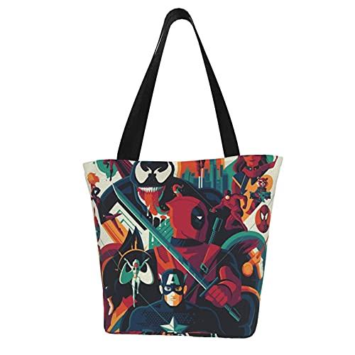 Vengadores Capitán América, bolsos de lona multiusos de gran capacidad, bolsos de la compra, bolsos de hombro, para mujer