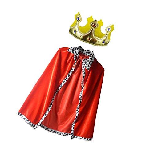 Tomaibaby 2 Piezas de Capa con Conjunto de Disfraces de Corona Disfraz de Prncipe Disfraz de Prncipe Encantador para Halloween Rey de Los Nios (Capa Roja + Corona)