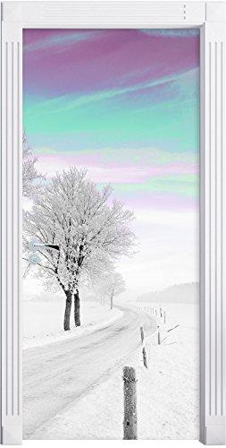 Stil.Zeit Möbel Albero innevato in Paesaggio Invernale Nero/Bianco murale, Formato: 200x90cm, Telaio della Porta, Adesivi Porta, Porta Decorazione, autoadesivi del Portello
