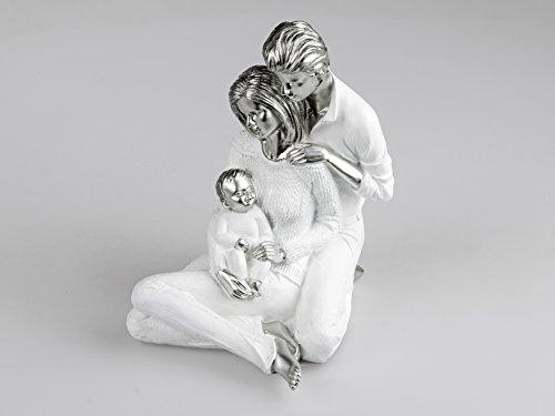 Formano - Statuetta decorativa a forma di coppia con bambini, in pietra artificiale, 18 x 22 cm, colore: Bianco/Argento