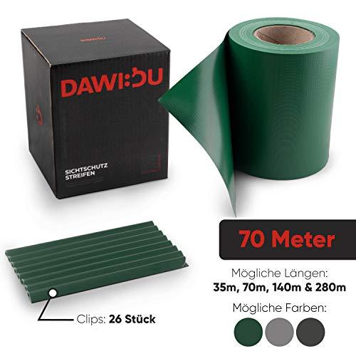 DAWIDU Zaun Sichtschutzstreifen für Doppelstabmatten & Einstab- 70m x 19cm inkl. 52 Clips - TÜV geprüfter Premium Wind- & Sichtschutz Gartenzaun Grün - Einfache Montage & langlebiger Schutz
