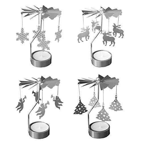 Pretty Comy Candelabros Rotativos Candelabros De Té De Navidad con Molino De Viento Giratorio para La Cena De Bodas Decoraciones para El Hogar