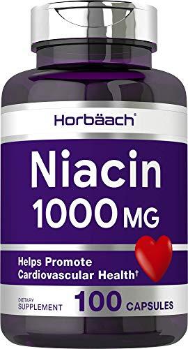 Niacin 1000mg 100 Capsules | with Flushing | Non-GMO, Gluten Free | Vitamin B3 | by Horbaach