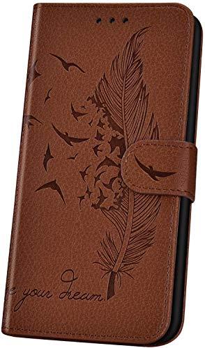 JAWSEU Handyhülle für LG K50 Hülle,Geprägt Feder Vogel Muster Schutzhülle Brieftasche PU Leder Tasche Handyhülle Lederhülle Flip Hülle Wallet Tasche Handytasche,Braun