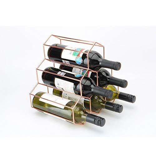 LMZX Estante de Vino de Metal para 6 Botellas, Estante de Vino Independiente de Mesa, Soporte de Almacenamiento de Vino de encimera, Estante de Vino de Mesa, Oro Rosa