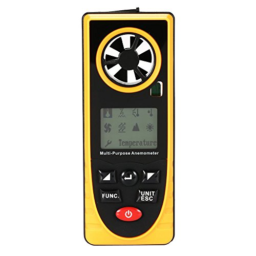 CENPEN Anemómetro Digital, portátil Mini Metro de Velocidad del Viento, Medida Profesional Temperatura, Humedad, sensación térmica, Punto de rocío, presión barométrica, iluminación for Exterior