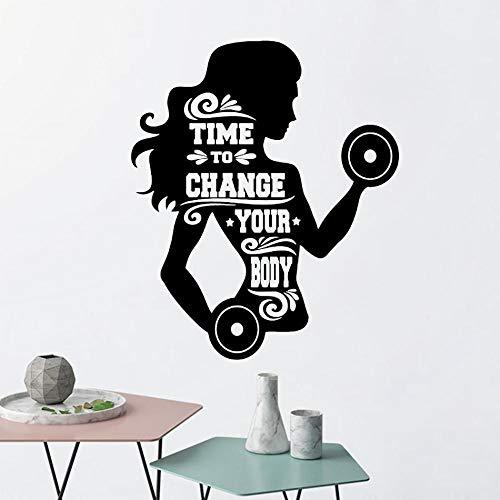 Crossfit Sport Poster Gym Wandtattoo Zeit, um Ihren Körper zu ändern Mädchen Fitness Motivation Zitat Vinyl Aufkleber Workout Wandbilder Größe: 42x50cm