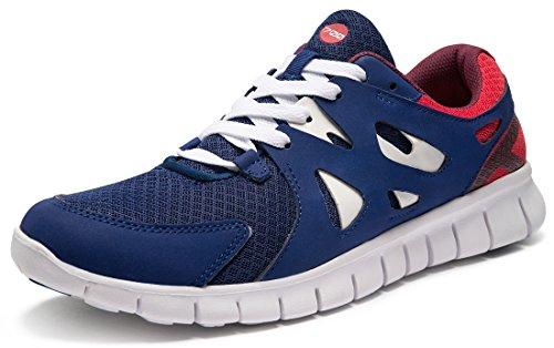TSLA Men's Boost Running Walking Sneakers Performance Shoes, Lightweight Flex(x700) - Blue & Red, 10