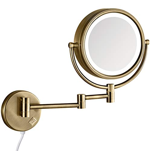 GURUN 8.5 Inch Magnifying Makeup Mirror with 3 Tones LED Lights,Double Sided Vanity Mirror for Bathroom 10X Magnification,Plug Powered M1809DK (Antique Brass/10X)