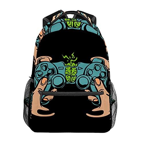 Controller di gioco Joystick Con Le Mani Daypack Zaino Scuola College Viaggi Escursioni Moda Laptop Zaino per Donne Uomini Teen Casual Borse di Tela