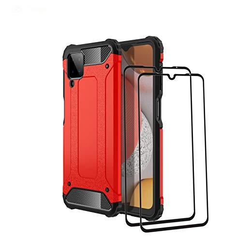 LEYAN Hülle für Samsung Galaxy A12 + 2 Panzerglas, [Armor Serie] Stoßfest Handyhülle, Hybrid PC/TPU Doppelschicht Schutzhülle, Heavy-Duty-Schutz Bumper Armor Hülle Cover, Rot