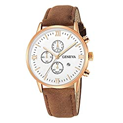 Geneva Men Date Alloy Case Synthetic Leather Analog Quartz Sport Luxury Watch Clock Brown E