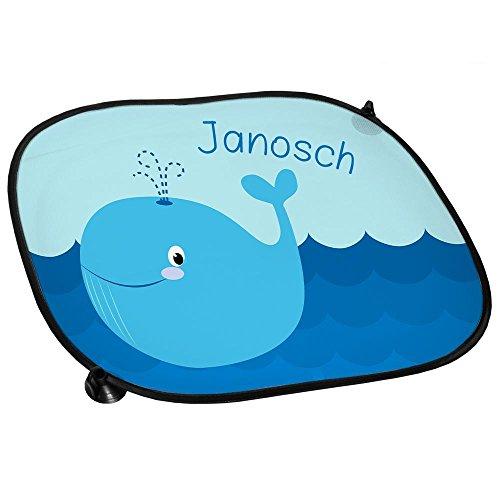 Auto-Sonnenschutz mit Namen Janosch und schönem Motiv mit Wal für Jungen | Auto-Blendschutz | Sonnenblende | Sichtschutz