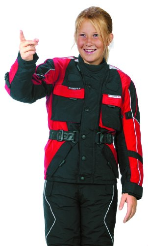 Roleff Mädchen 432kl Motorradjacke mit Reflektoren und Weitenverstellung, rot/schwarz, L